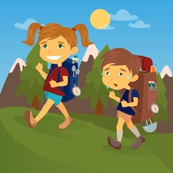 Crianças com mochilas de viagem. escoteira de menino e menina. casal de turistas.