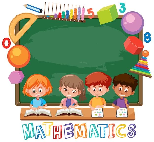Crianças com modelo de ícone de matemática