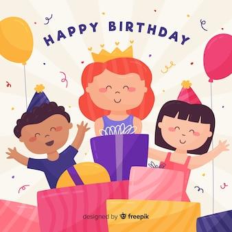 Crianças com muitos presentes de aniversário fundo