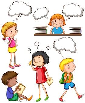 Crianças com pensamentos vazios