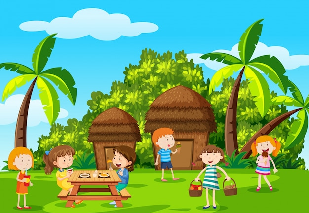 Crianças com piquenique no parque