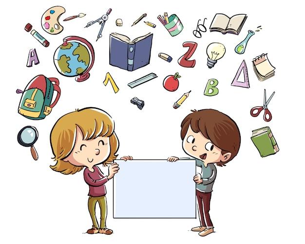 Crianças com poster e material escolar