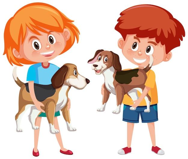 Crianças com seus animais de estimação isolados no fundo branco