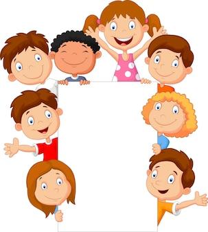 Crianças com sinal em branco