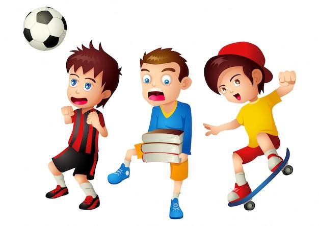 Crianças com suas atividades