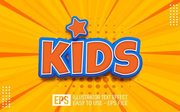 Crianças com texto 3d criativo, modelo de efeito de estilo editável Vetor Premium