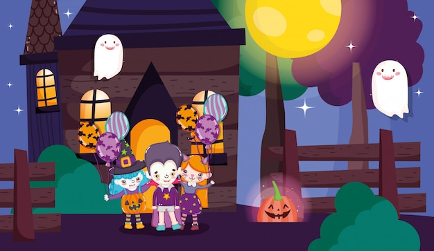 Crianças com traje de halloween