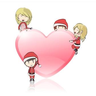Crianças com traje de papai noel ao redor do coração