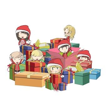 Crianças com traje de papai noel em torno de presentes