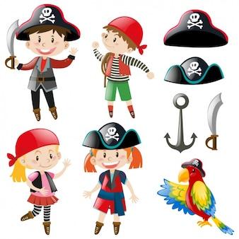 Crianças com trajes do pirata