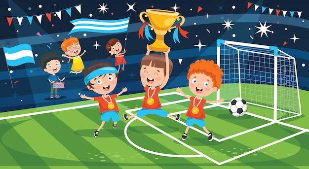Crianças comemorando a vitória no campeonato