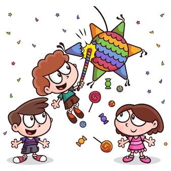Crianças comemorando posadas