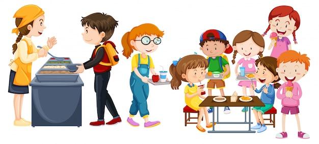 Crianças, comer, em, cafeteria