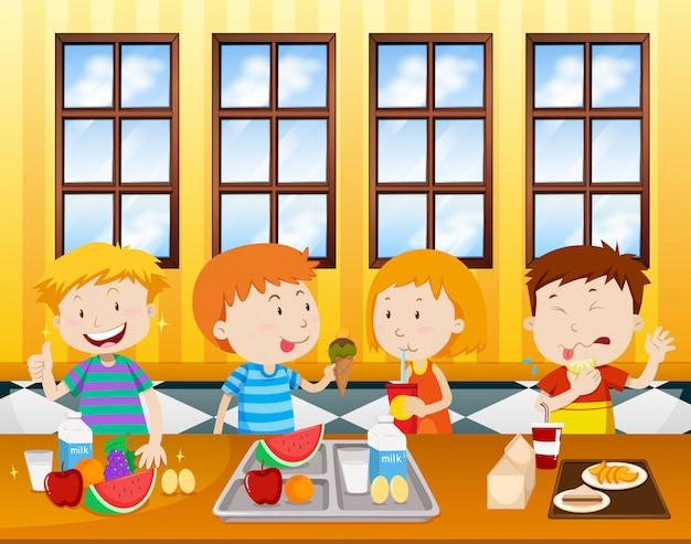 Crianças, comer, em, um, cafeteria