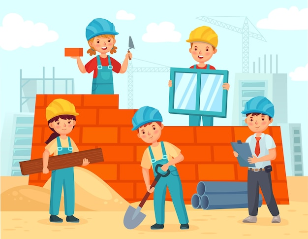 Crianças constroem construções.