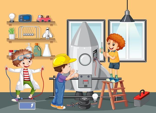 Crianças construindo robôs juntas na cena da sala