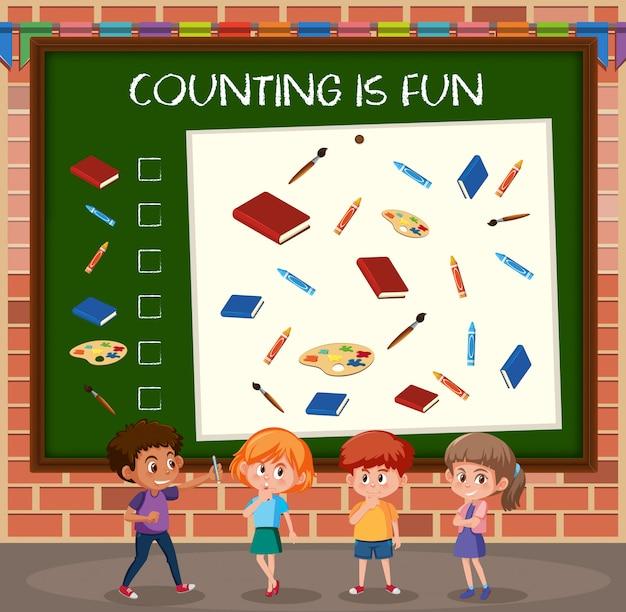 Crianças, conta, contagem, jogo, modelo
