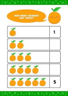 Crianças contando jardim de infância aprendem modelo de planilha com ilustração de frutas laranja