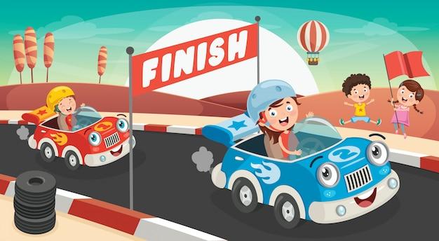 Crianças correndo com carros engraçados