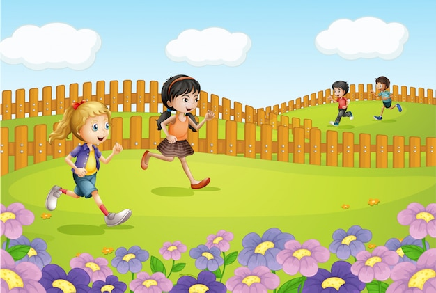 Crianças correndo em um campo
