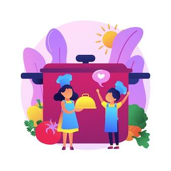 Crianças cozinhando. crianças personagem de desenho animado chesf.