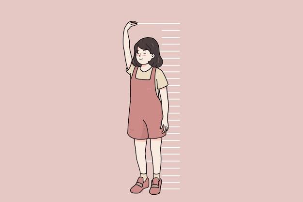Crianças crescendo, conceito de altura do corpo