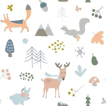 Crianças, crianças ou bebês sem costura repetir padrão, tema de animais da floresta de inverno