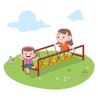 Crianças crianças, tocando, pátio recreio, ilustração