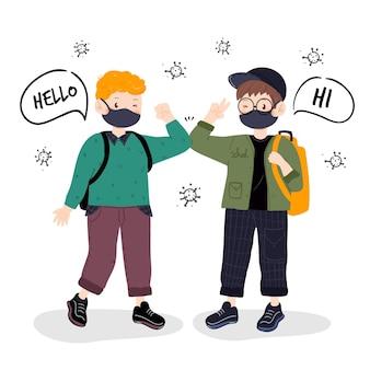 Crianças cumprimentando no novo normal na escola