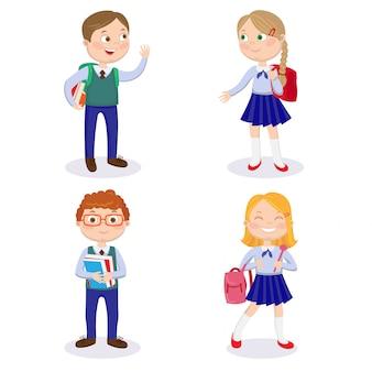 Crianças da escola com mochilas e livros. meninos felizes e meninas vão à escola