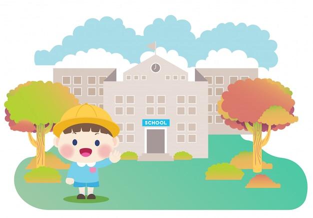 Crianças da escola e edifício da escola primária