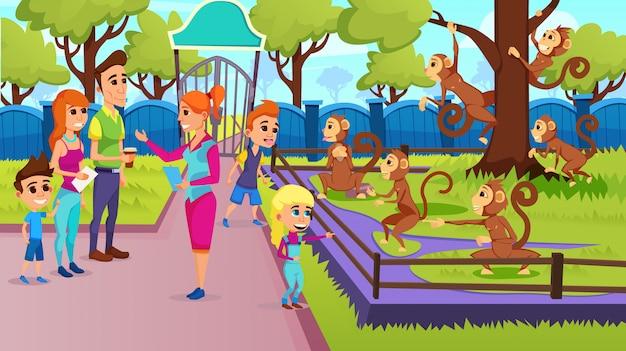 Crianças da escola e excursão em família feliz com guia