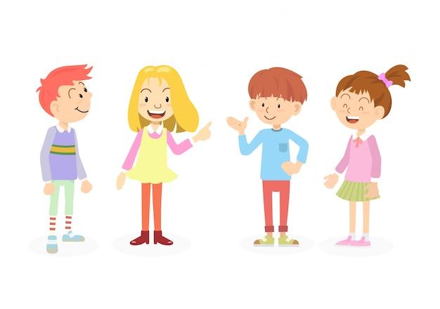 Crianças da escola feliz e fofos falam com os amigos. conceito de educação e dia das crianças