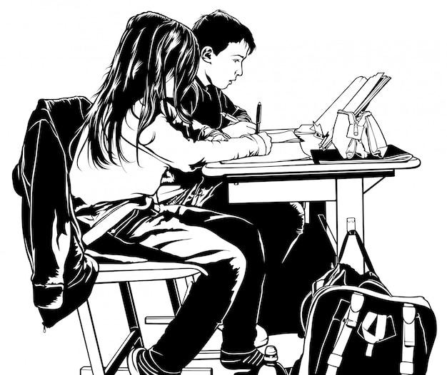 Crianças da escola na sala de aula