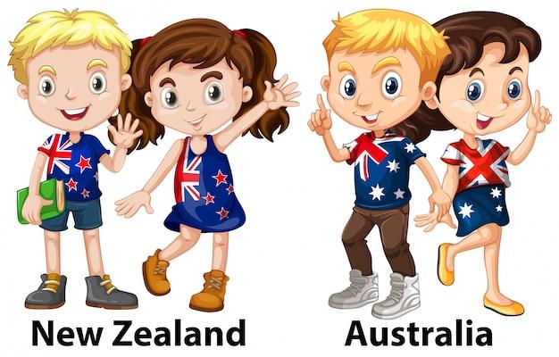 Crianças da nova zelândia e austrália