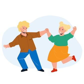 Crianças dançando juntos em vetor de festa infantil. menino feliz e sorridente crianças dançando na escola de dança. personagens fofinhos - coreografia, ilustração de desenhos animados engraçados de lazer infantil