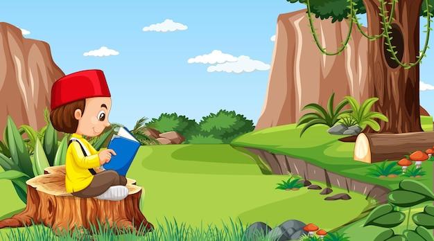 Crianças de brunei vestem roupas tradicionais e lêem um livro no cenário da floresta