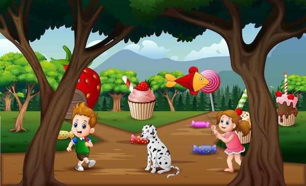 Crianças de desenho animado brincando na doce terra