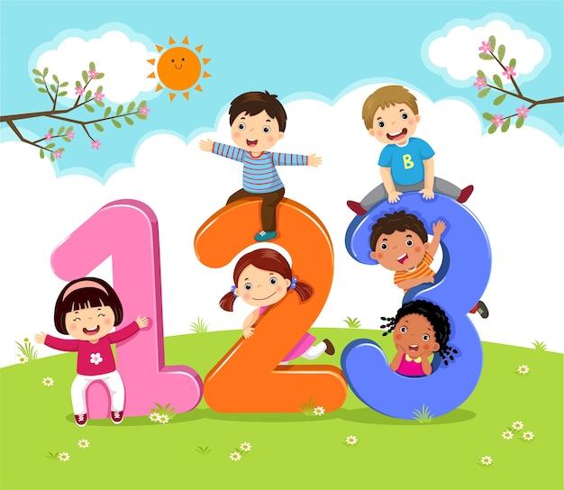 Crianças de desenho animado com 123 números