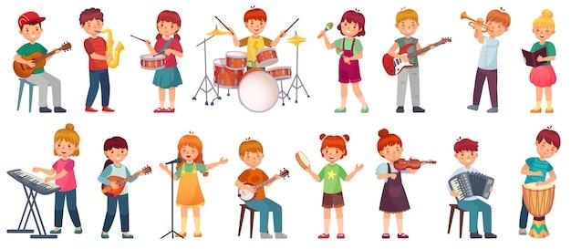 Crianças de desenho animado tocam música. garoto talentoso tocando instrumento musical, aulas da escola de música. jovem cantora, conjunto de ilustração de crianças músico.