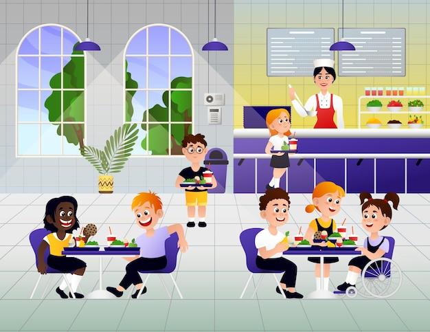 Crianças de desenho animado tomando café da manhã na escola