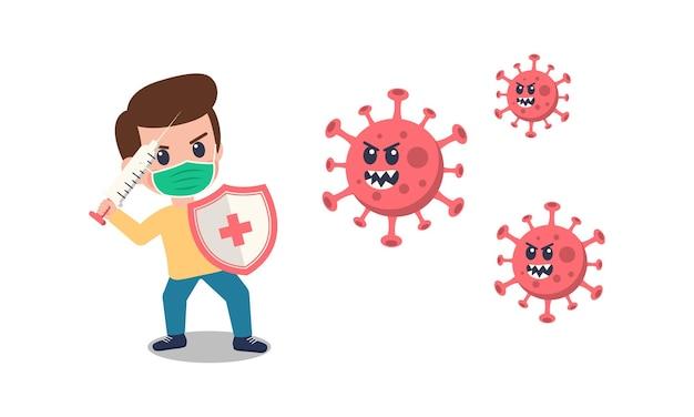 Crianças de desenho animado usando máscara lutando contra o vírus corona.