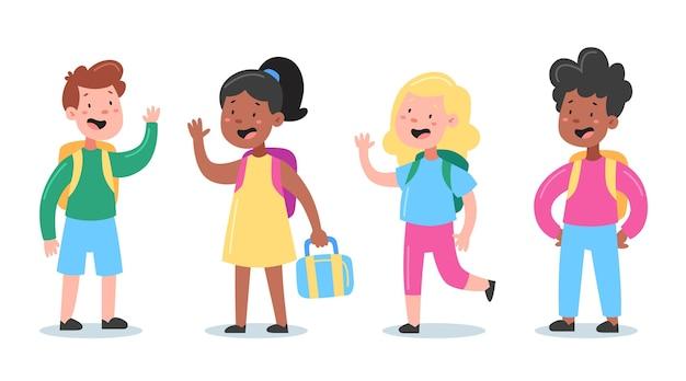 Crianças de design plano de volta à coleção escolar