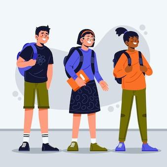 Crianças de design plano de volta à escola