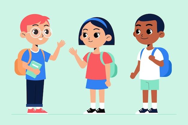 Crianças de design plano volta ao conceito de escola