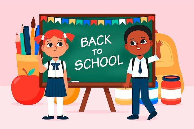 Crianças de design plano volta para ilustração de escola