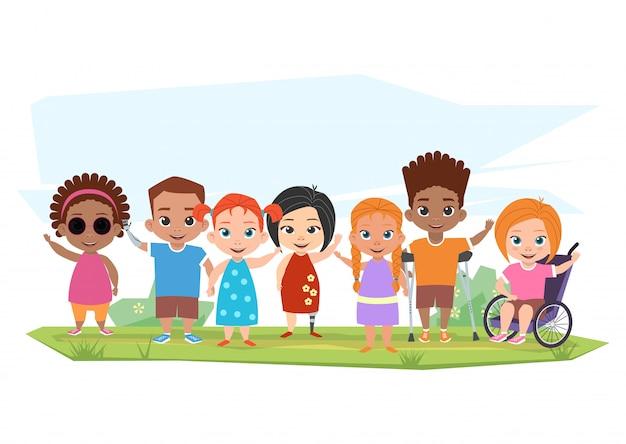 Crianças de diferentes deficiências e crianças saudáveis posando,