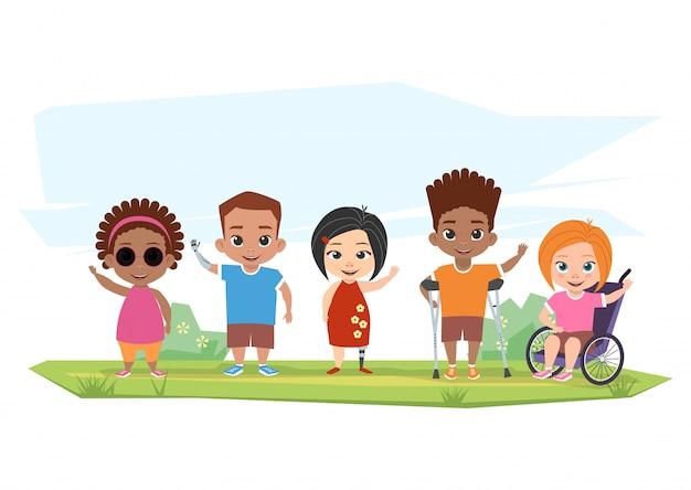 Crianças de diferentes deficiências posam, cumprimentam