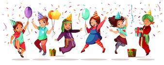 Crianças de diferentes nacionalidades comemorando aniversário ou feriado com balões coloridos