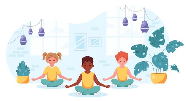 Crianças de diferentes nacionalidades meditando em pose de lótus ioga e meditação para crianças